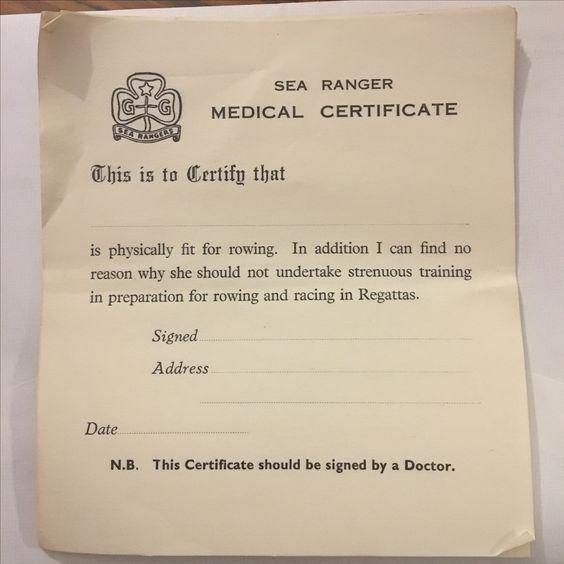 Girl Guide Sea Rangers medical certificate Sea Rangers (Girl - medical certificate