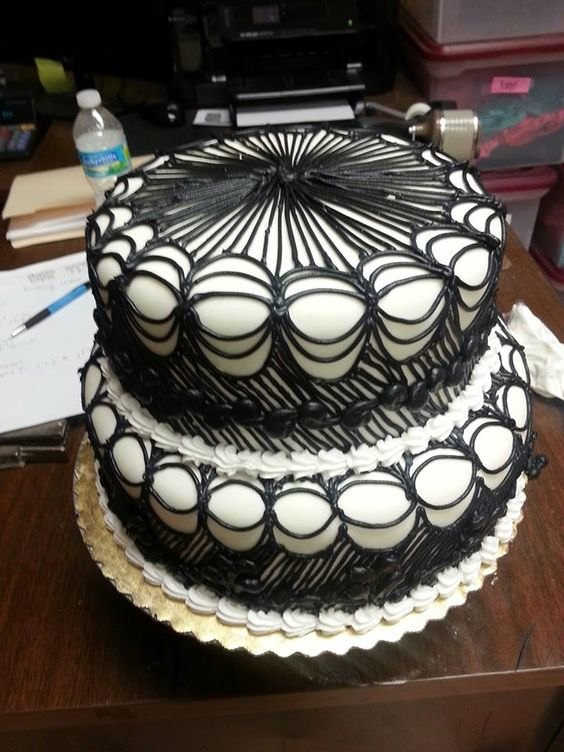 black and white lace cake