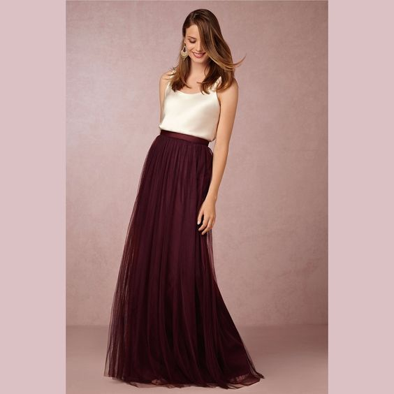 Aliexpress.com : Buy Two Piece Bridesmaid Dresses IvoryTop with Tulle Long Skirts  Burgundy/Lavender/Sage/Royal Blue/Coral Bridesmaid Dresses from Reliable dresses form suppliers on Life&Peace Dress Store  | Alibaba Group