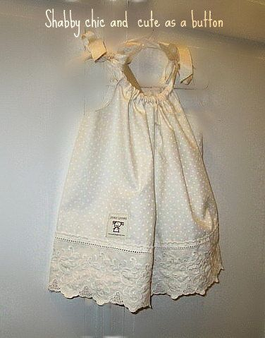 Shabby chic Off White pillowcase dress by janeylaughs on Etsy, $28.00