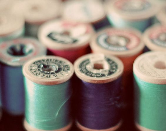 Still Life Photography, Sewing Photograph, Spools, 4x6 Print, VintageThread Photo,  Muted Colors