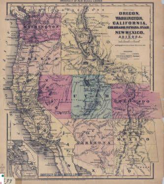 1860 Map of Oregon, Washington, California, Colorado, Nevada, Utah, New Mexico, and Arizona :: New Mexico Waters