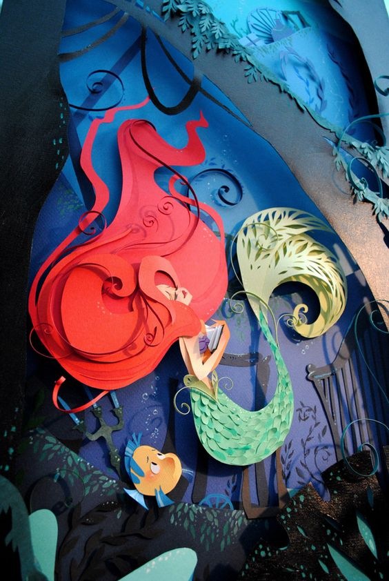 The Little Mermaid: a Layered Paper Illustration by Brittney Lee