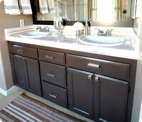Turn Your Builder 39 S Grade Oak Vanity Into A Thing Of Beauty Vanities Cabinets And Latex