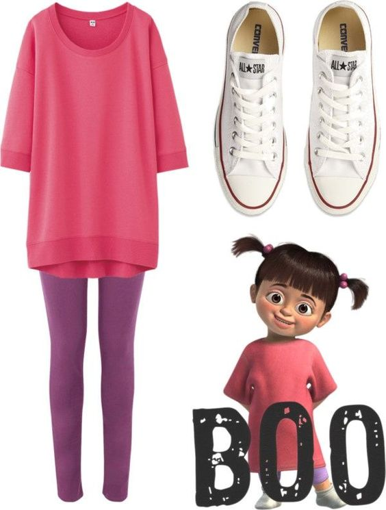 Disney fans might get a simple easy outfit for their Halloween night, even with your Converse shoes. Sweet and cute just like BOO.: