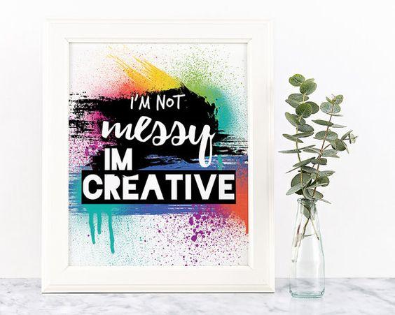 """No soy complicada, soy creativo impresión tipográfica - 4 x 6"""" o 8"""" x 10""""/ / cepillo de la pintura abstracta colorida salpicadura vivero imprimir cuadros de arte"""