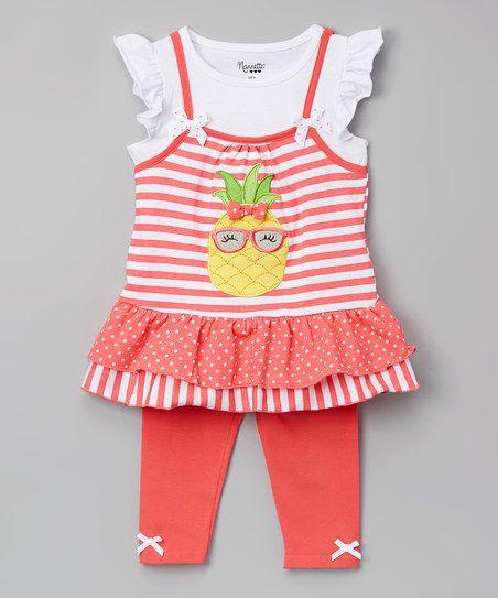 Nannette Girl Orange Ruffle Pineapple Tunic & Leggings - Toddler & Girls   zulily