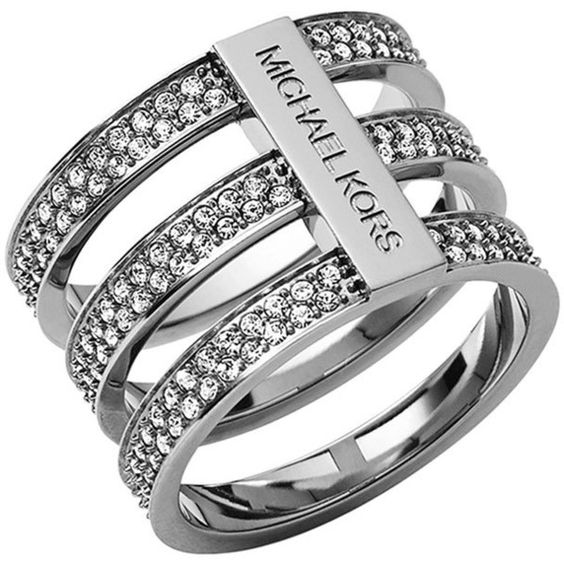 Michael Kors Triple-Stack Pave Ring ($93) ❤ liked on Polyvore featuring jewelry, rings, silver, michael kors rings, trio rings, steel jewelry, pave ring and clear crystal jewelry
