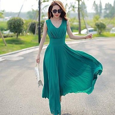 Women's Elegance V Neck Simplicity Chiffon Maxi Dress – USD $ 24.99: