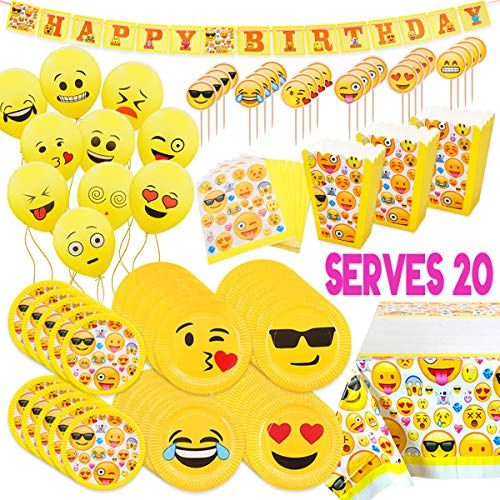 Emojis with Bows Birthday Banner Party Backdrop