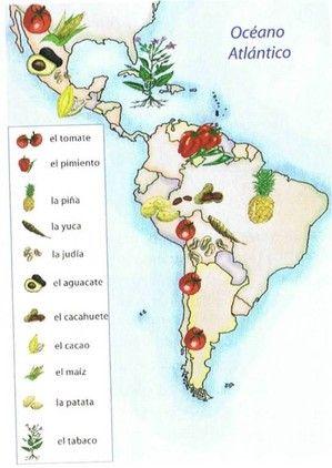 Mapa alimentos de am rica mapas viajes turismo paises for Imagenes de productos americanos