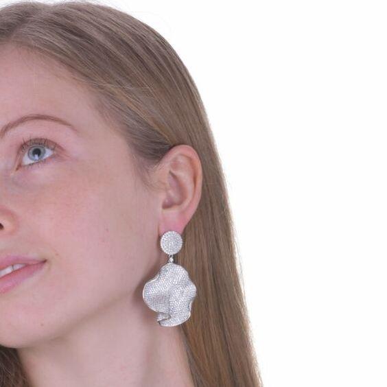 Silver Rolling Lotus Leaf Drop & Dangle Earrings