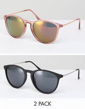 ASOS - Lot de 2 paires de lunettes de soleil rondes fines style rétro - Rose et noir