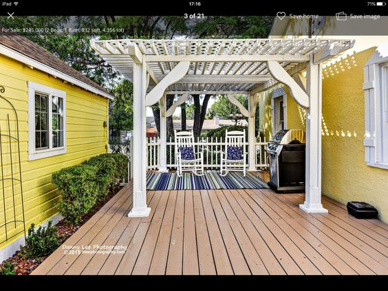 Porch, terrace, love the bright colors