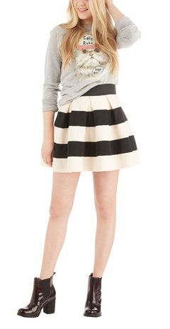 Stripe It Lucky Skirt in Black & White from ModCloth fashion striped