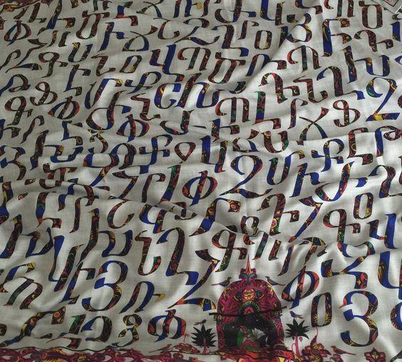 buy hermes armenian alphabet scarf