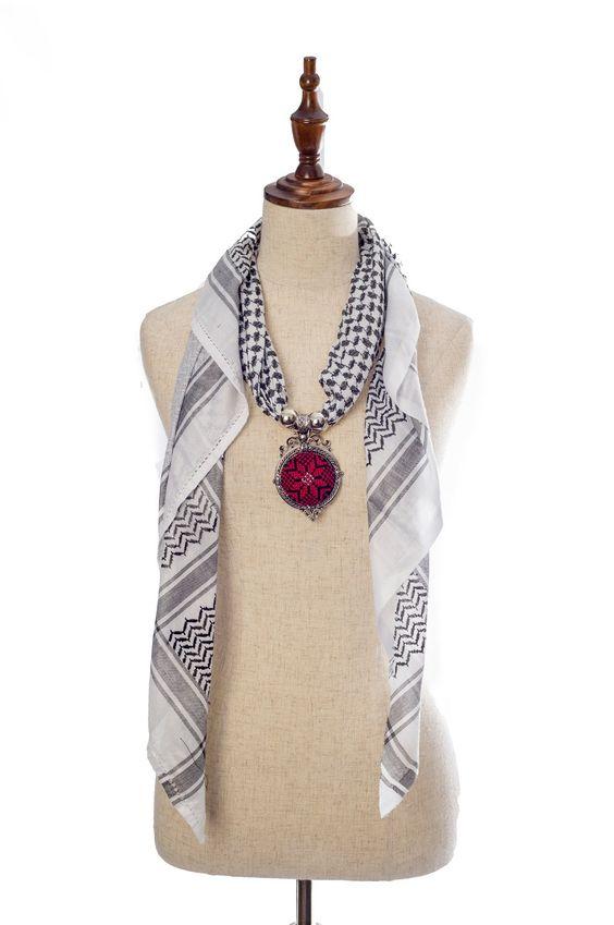سكارف الكوفية الفلسطينية متجر السندس Necklace Statement Necklace Fashion