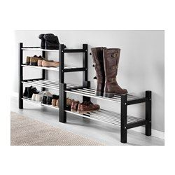 IKEA - TJUSIG, Shoe rack, black, , If you need more storage space for your shoes, simply stack two shoe racks on top of one another.