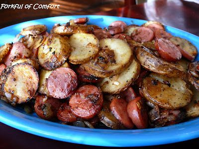 Forkful of Comfort: Sausage & Potatoes Forkful of Comfort: Sausage & Potatoes 4/27/14~ I made this for our supper tonight. I followed all directions except left out the sage & added Italian Seasoning. Also, I used Creole Seasoning (just a dash) instead of cayenne. Delish! Wish I had fried up some cabbage & thrown it in to the mix, lol!