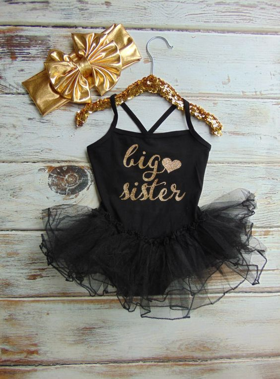 foto de Gold Glitter Big Sister Black Leotard with Tutu