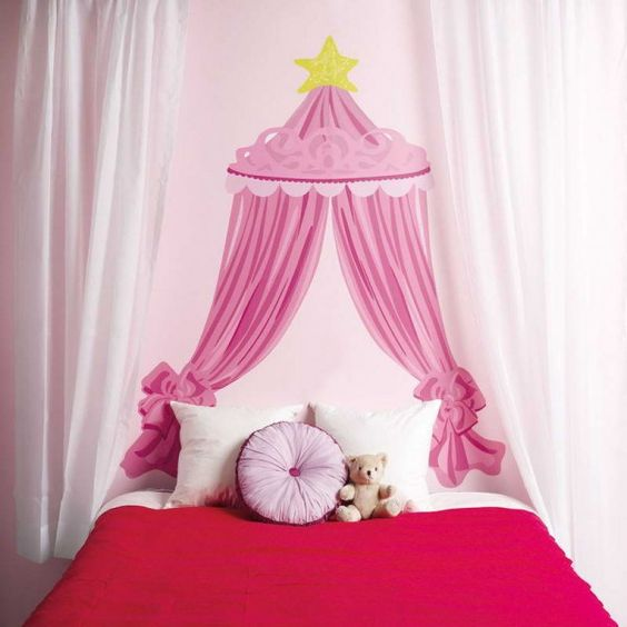 Bed Curtains canopy bed curtains for kids : Bedroom,Creative Kids Girls Bedroom Interior Decorating Ideas With ...