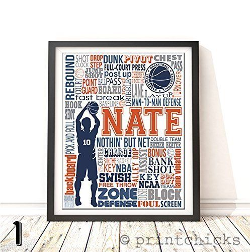 Amazon Com Basketball Typography Personalized Print Printchicks