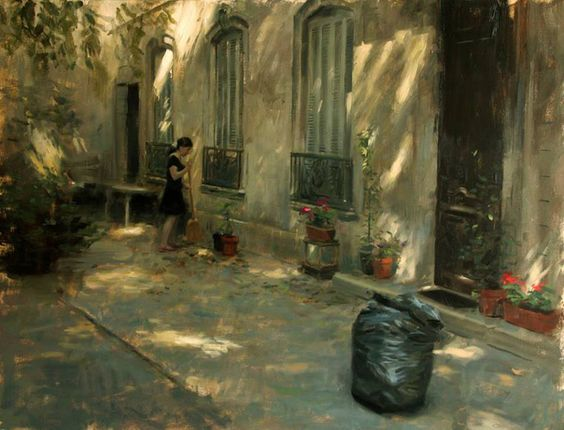 "Dappled Courtyard (42"" x 36"") by Aldo Balding:"