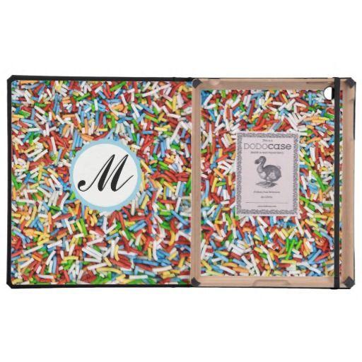 Custom Monogram iPad Case Sugar Sprinkles Candy