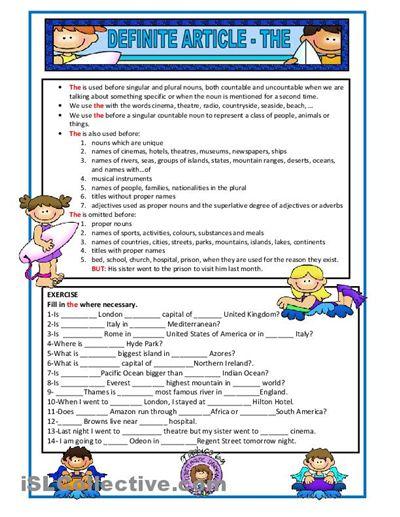 DEFINITE ARTICLE   Teaching / Learning   Pinterest ...