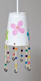 Cup Wind-Chime Craft For Kids /sheknow..use solo and feather with light.