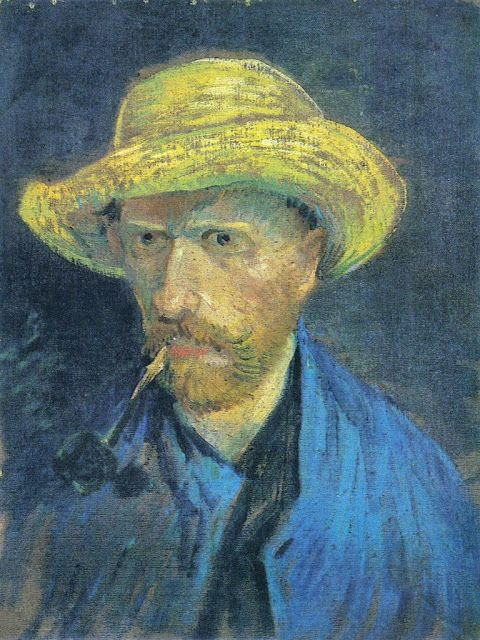 Self-Portrait with Straw Hat and Pipe, Vincent van Gogh 1887