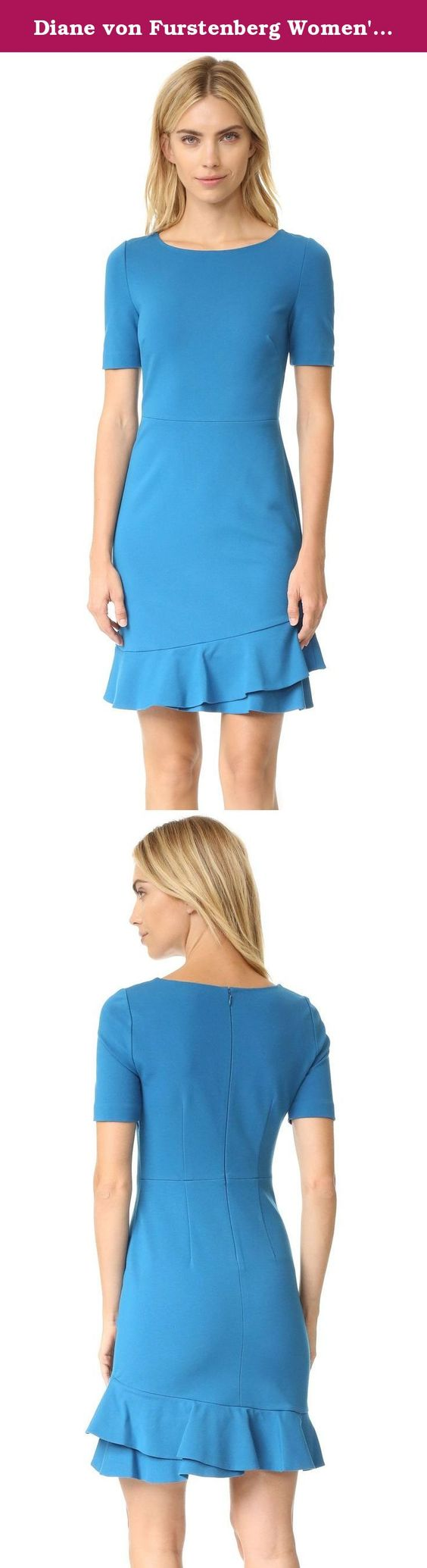 Diane von Furstenberg Women's Serafina Dress, Peacock, 2. Flounced, layered ruffles trim the hem of this formfitting Diane von Furstenberg dress. The versatile piece is cut from smooth ponte jersey and styled with a wide neckline. Short sleeves. Hidden back zip. Unlined.