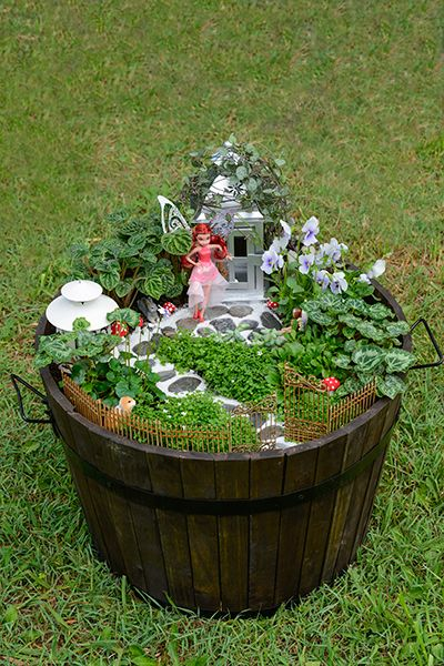 Gardens toys and plants on pinterest - How to make a fairy garden container ...