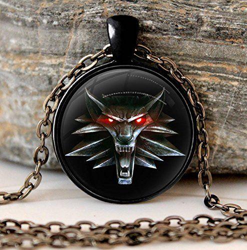 The Witcher 3 Anhänger Glas mit Halskette Wolf Amulett br…