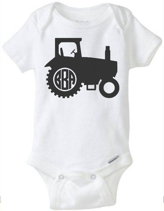 tractor monogram personalized onesie baby girl boy toddler youth funny cute newborn outfit bring