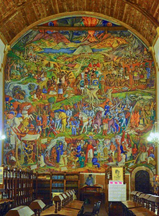 mural de juan o gorman en la biblioteca gertrudis