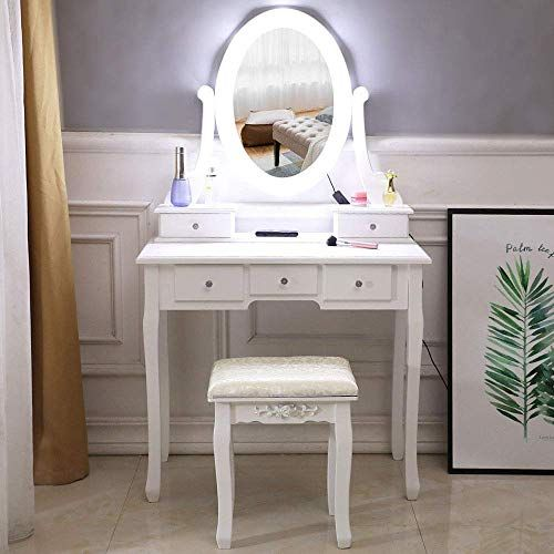 Buy Vanity Table Lighted Led Round Mirror Makeup Dressing Table 5