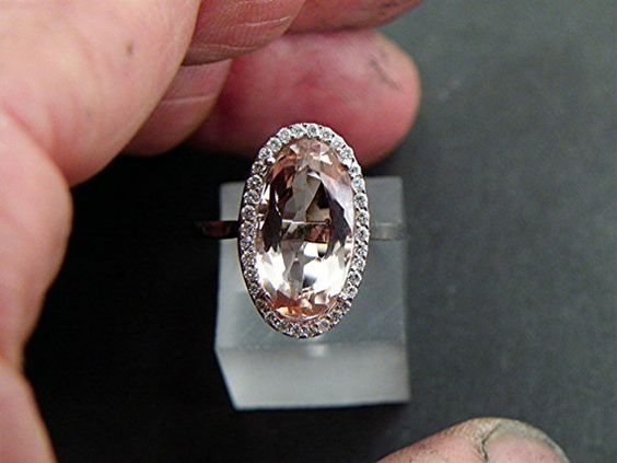 AAA 4.78 carat 14.6x8mm Oval Peach colored natural Morganite Diamond Halo ring 14K white gold. 1201.