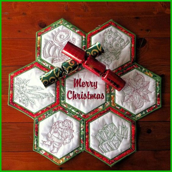 In The Hoop Machine Embroidery Design Hexagon Christmas