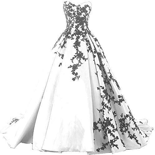 Kivary Gothic Black Satin Lace V Neck A Line Long Prom Corset Wedding Dresses
