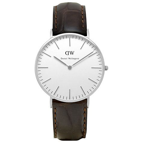 Buy Daniel Wellington 0610DW Women's Classy York Leather Strap Watch, Brown Croc…