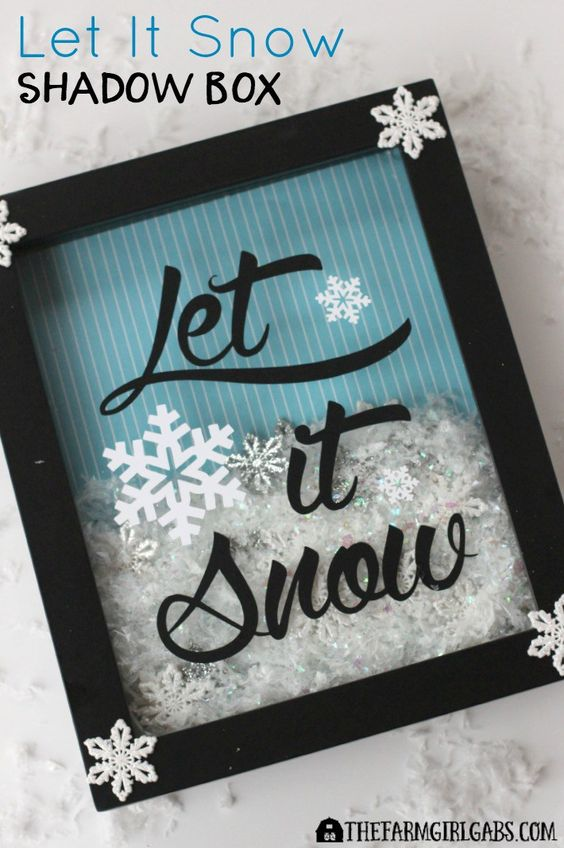 While the weather outside may be frightful, this Let It Snow Shadow Box craft is really delightful for the Christmas season.