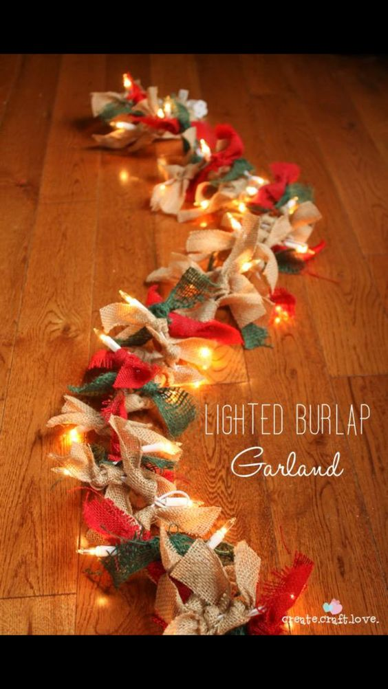 1) string of lights 2) burlap ribbon of any color 3) cut ribbon and tie on to lights Christmas ...