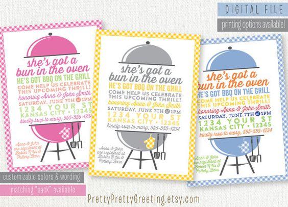 baby q baby shower invitation - babyq bbq baby-q boy girl gender, Baby shower invitations