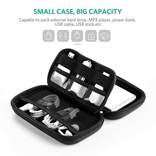 "UGREEN 2.5/"" Hard Drive Case Bag Electornics Accessories Organizer Bag For Cables"