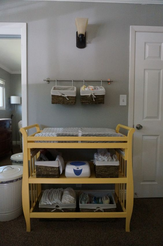 Smart use of a small space by using a towel bar and two baskets to hang diaper supplies! #nursery #organization: Nursery Diaper Organization, Nursery Organization, Nursery Basket Organization, Baby Small Space, Baby Room, Nursery Small Space, Changing Table Organization, Kid