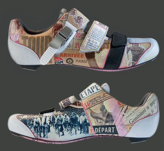 Rapha Grand Tour cycling shoes decorated by artist James Straffon, inspired by cycling ephemera