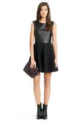 DVF :Jeannie Two Leather Fit and Flare Dress Style inspiration - get the look with CAbi fall: Owens skirt & fleather top