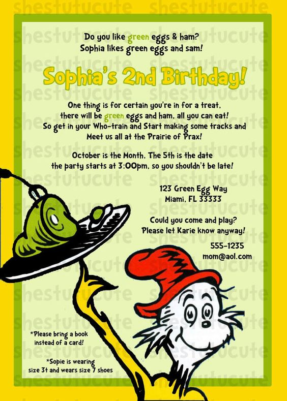 Green eggs and ham party invitation | Kids Party Ideas | Pinterest | Green Eggs, Green Eggs And ...