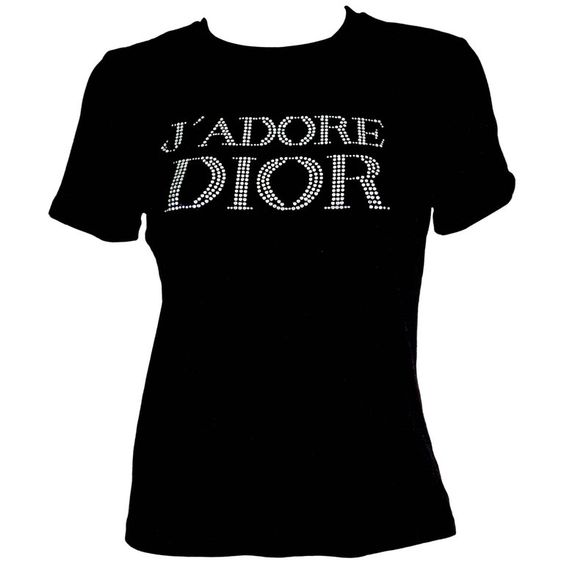 For Sale on 1stdibs - -Super cute black t-shirt from Dior under Galliano's tenure -Fabric is 95% cotton and 5% lycra, has stretch -Front is embellished with J'adore logo in
